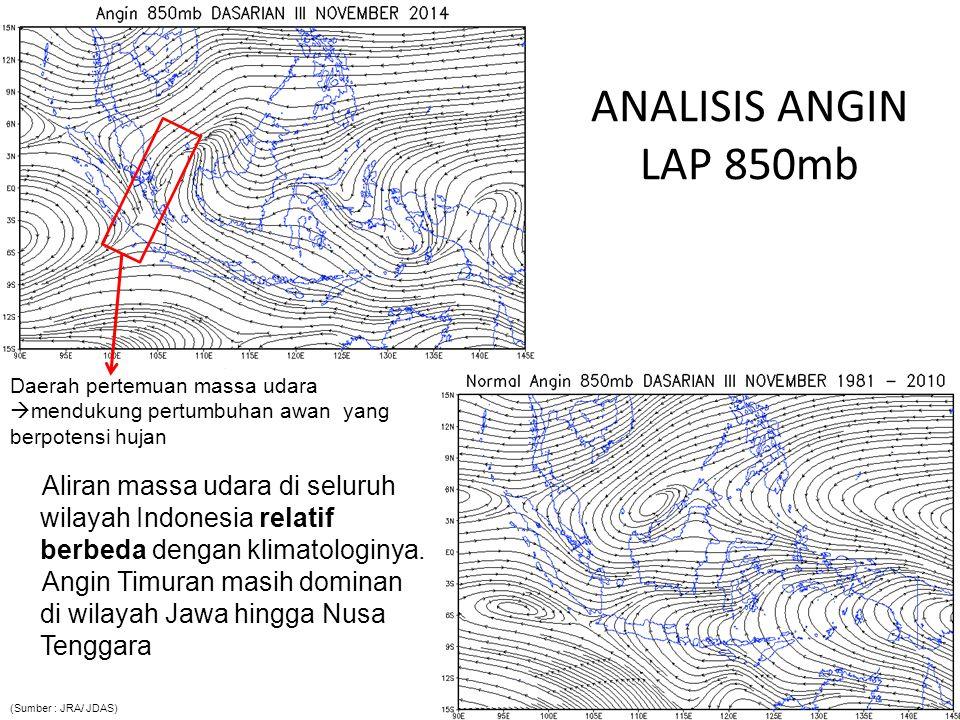 ANALISIS ANGIN ZONAL LAP 850mb Pola aliran massa udara komponen zonal (timur-barat) umumnya relatif berbeda dengan klimatologinya.