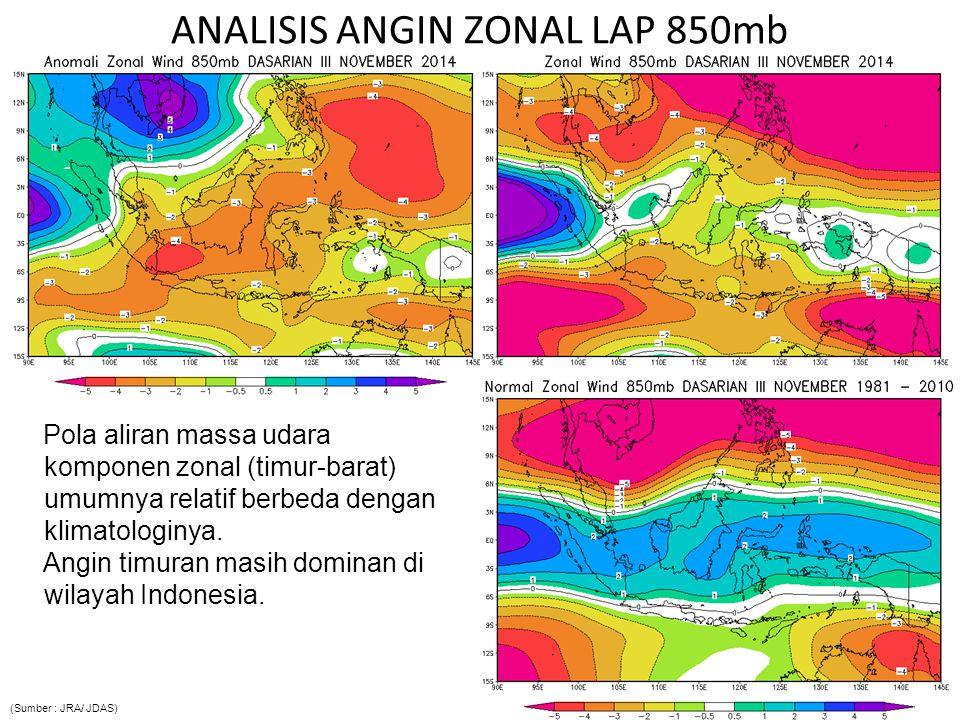 ANALISIS ANGIN MERIDIONAL LAP 850mb P ola aliran massa udara komponen meridional (utara- selatan) umumnya relatif berbeda dengan klimatologisnya.