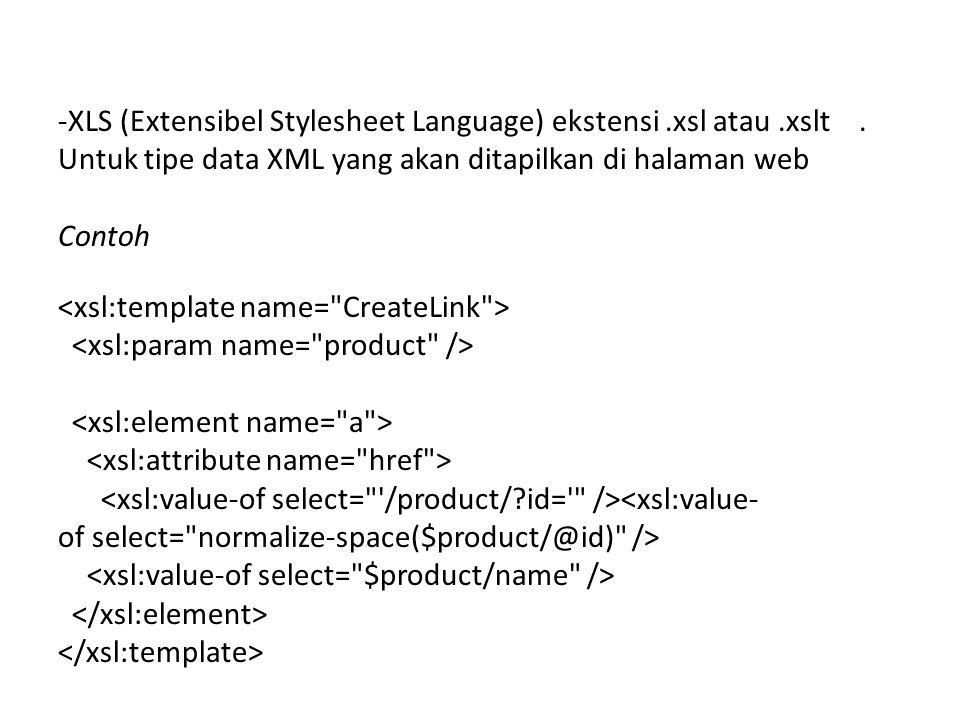 -XLS (Extensibel Stylesheet Language) ekstensi.xsl atau.xslt.
