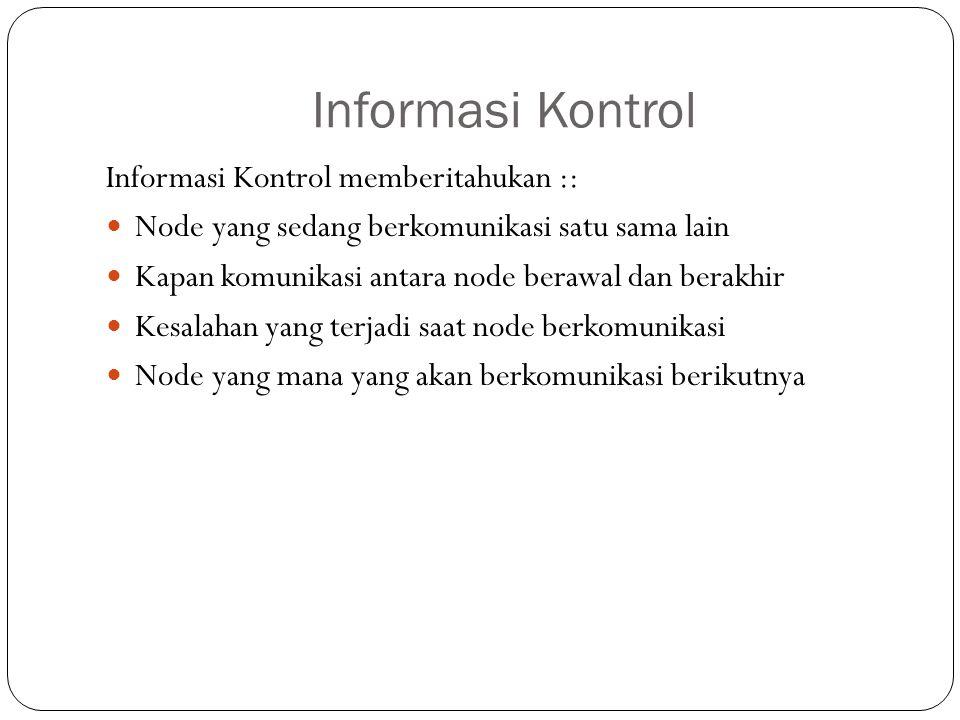 Informasi Kontrol Informasi Kontrol memberitahukan :: Node yang sedang berkomunikasi satu sama lain Kapan komunikasi antara node berawal dan berakhir