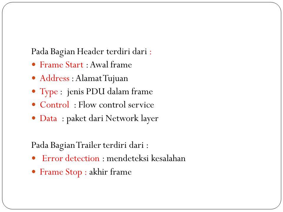 Pada Bagian Header terdiri dari : Frame Start : Awal frame Address : Alamat Tujuan Type : jenis PDU dalam frame Control : Flow control service Data :