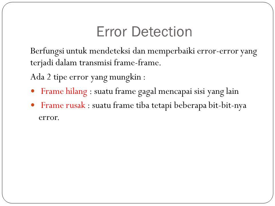 Error Detection Berfungsi untuk mendeteksi dan memperbaiki error-error yang terjadi dalam transmisi frame-frame. Ada 2 tipe error yang mungkin : Frame