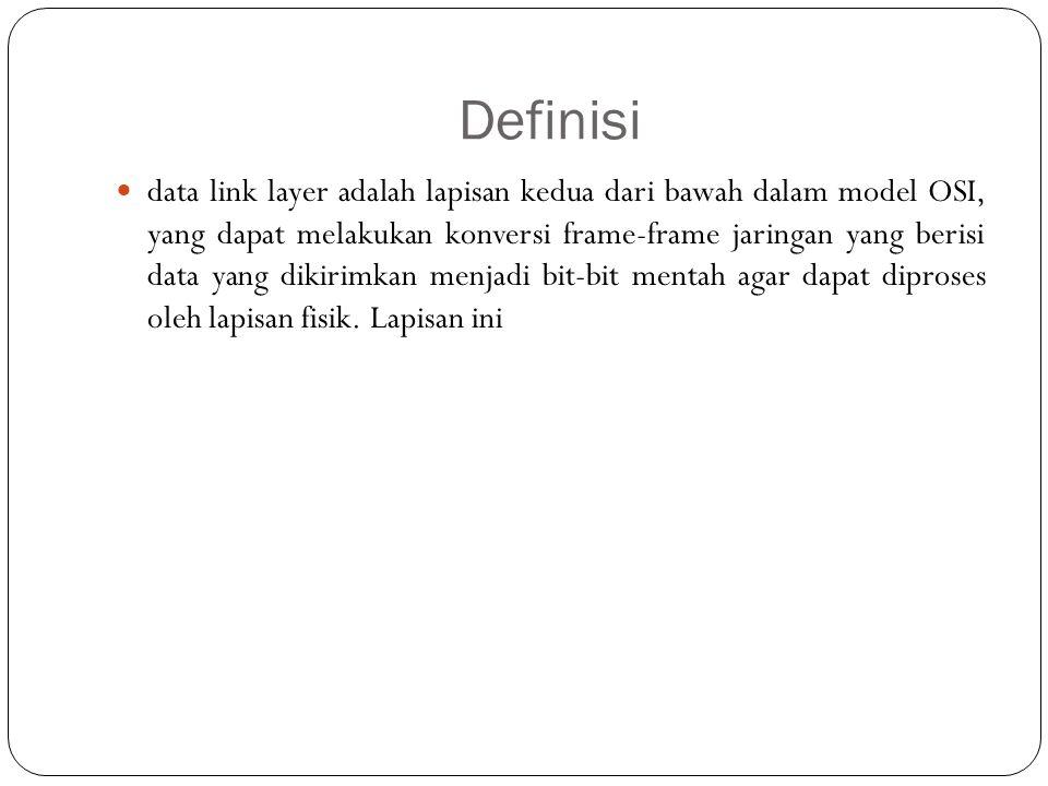 Definisi data link layer adalah lapisan kedua dari bawah dalam model OSI, yang dapat melakukan konversi frame-frame jaringan yang berisi data yang dik