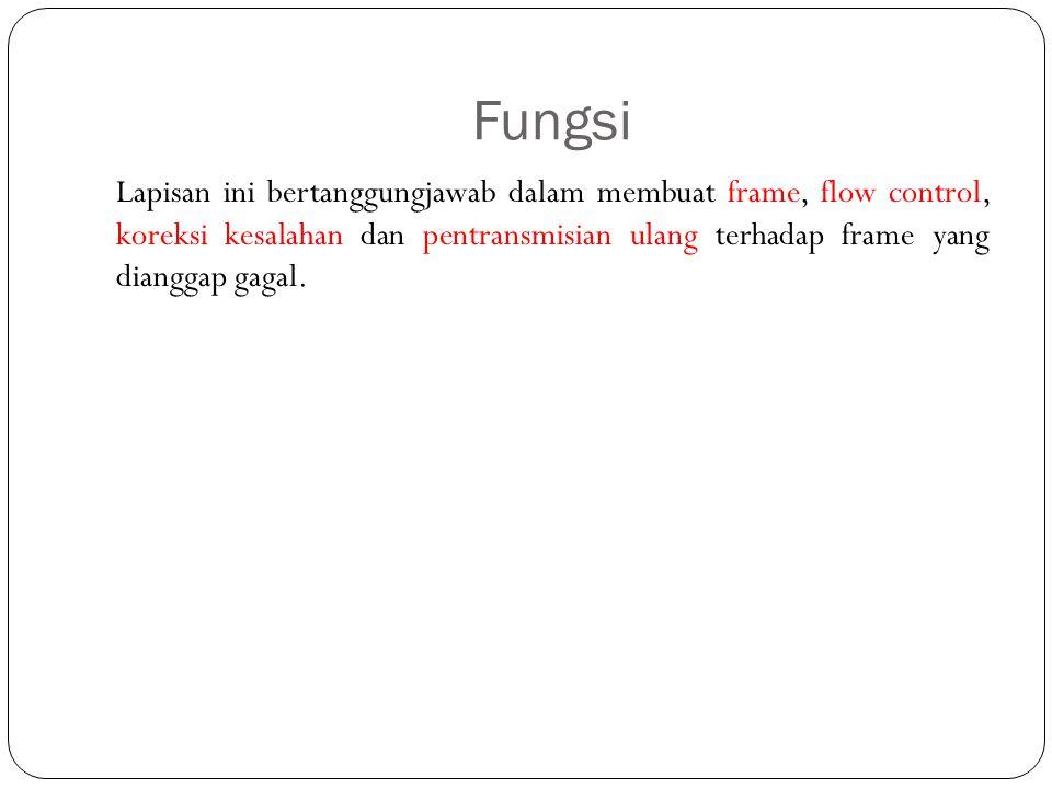 Fungsi Lapisan ini bertanggungjawab dalam membuat frame, flow control, koreksi kesalahan dan pentransmisian ulang terhadap frame yang dianggap gagal.