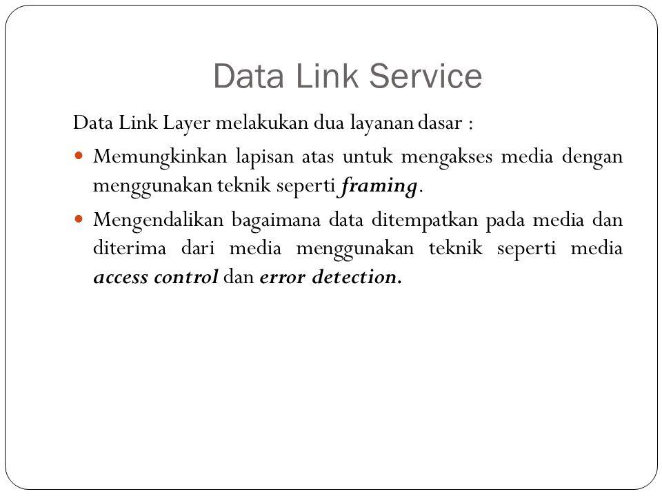 Data Link Service Data Link Layer melakukan dua layanan dasar : Memungkinkan lapisan atas untuk mengakses media dengan menggunakan teknik seperti fram