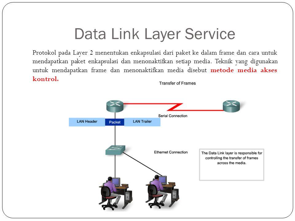 Data Link Layer Service Protokol pada Layer 2 menentukan enkapsulasi dari paket ke dalam frame dan cara untuk mendapatkan paket enkapsulasi dan menona