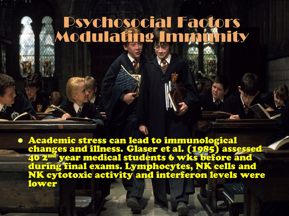 Psychosocial Factors Modulating Immunity Academic stress can lead to immunological changes and illness. Glaser et al. (1985) assessed 40 2 nd year med