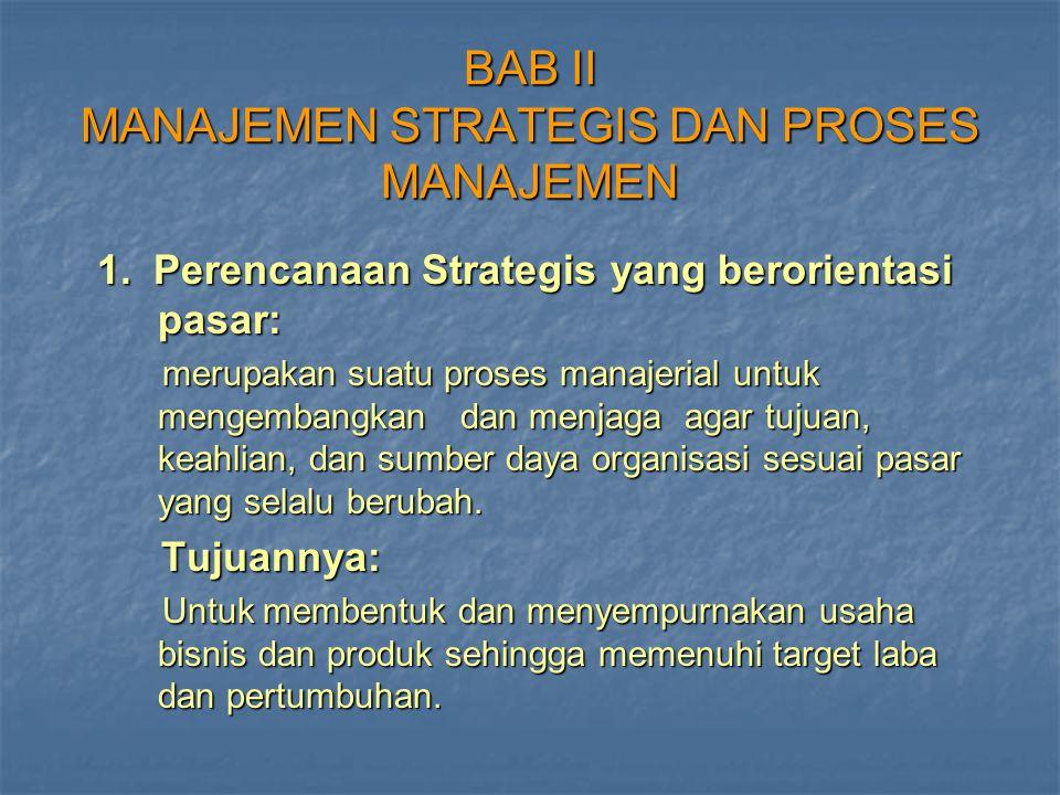 BAB II MANAJEMEN STRATEGIS DAN PROSES MANAJEMEN 1. Perencanaan Strategis yang berorientasi pasar: 1. Perencanaan Strategis yang berorientasi pasar: me