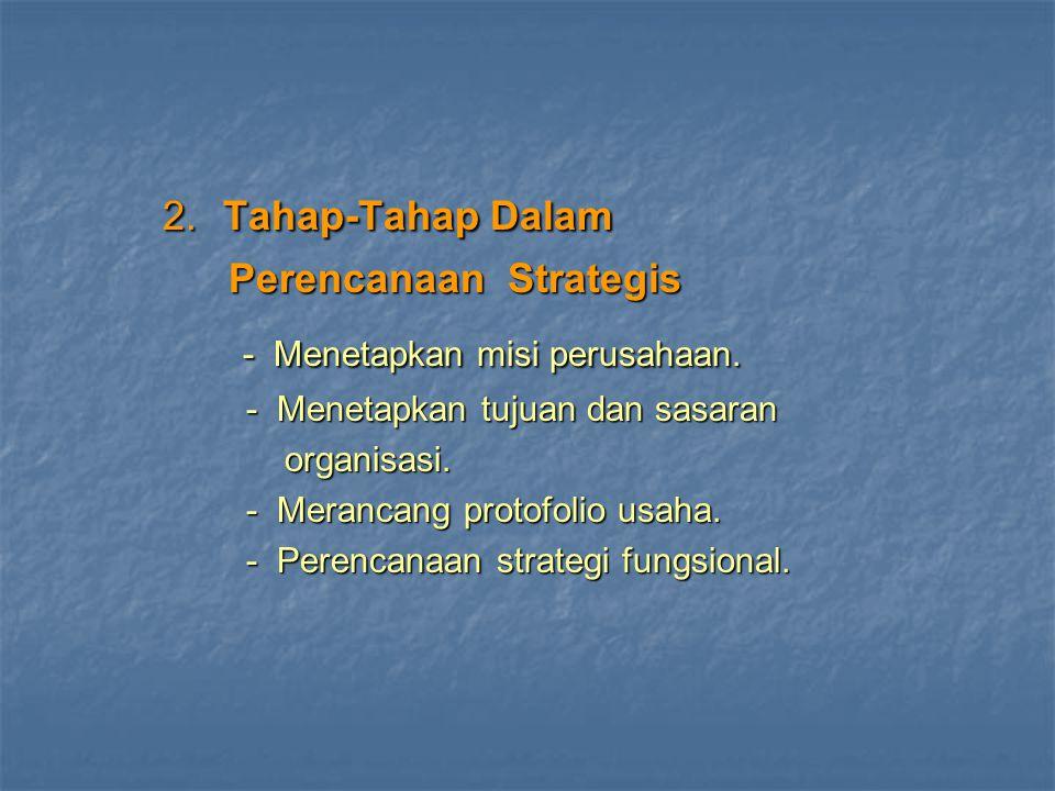 2. Tahap-Tahap Dalam 2. Tahap-Tahap Dalam Perencanaan Strategis Perencanaan Strategis - Menetapkan misi perusahaan. - Menetapkan misi perusahaan. - Me