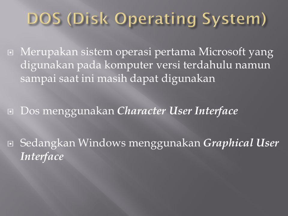  Merupakan sistem operasi pertama Microsoft yang digunakan pada komputer versi terdahulu namun sampai saat ini masih dapat digunakan  Dos menggunaka