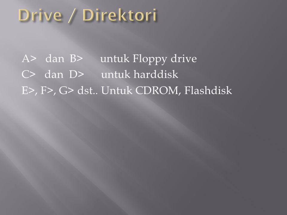 A> dan B> untuk Floppy drive C> dan D> untuk harddisk E>, F>, G> dst.. Untuk CDROM, Flashdisk