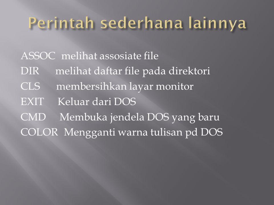 ASSOC melihat assosiate file DIR melihat daftar file pada direktori CLS membersihkan layar monitor EXIT Keluar dari DOS CMD Membuka jendela DOS yang b