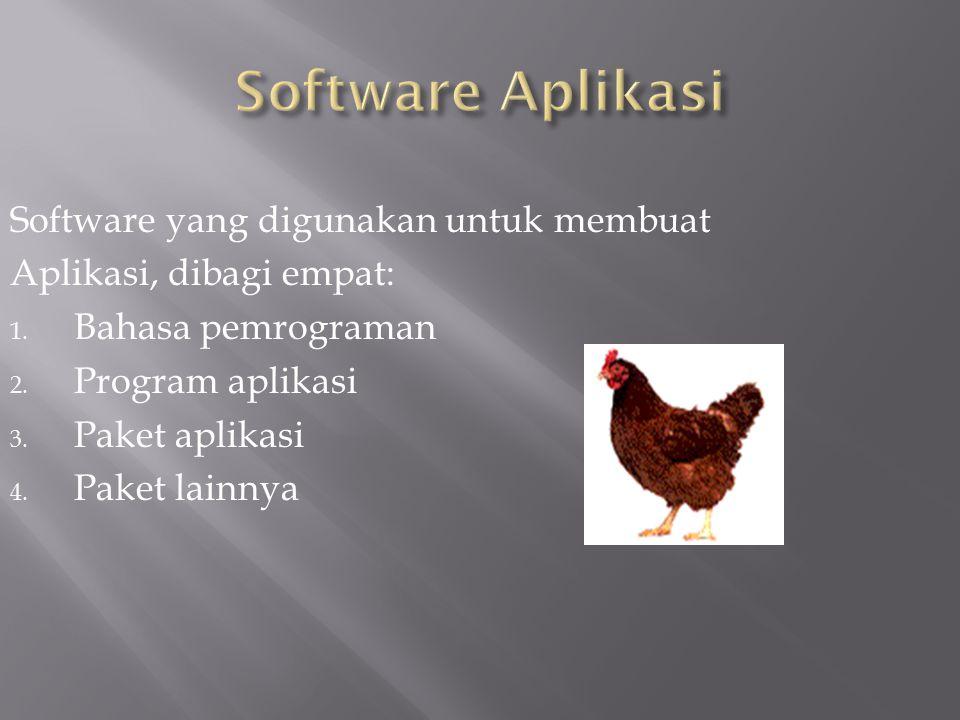 Software yang digunakan untuk membuat Aplikasi, dibagi empat: 1. Bahasa pemrograman 2. Program aplikasi 3. Paket aplikasi 4. Paket lainnya