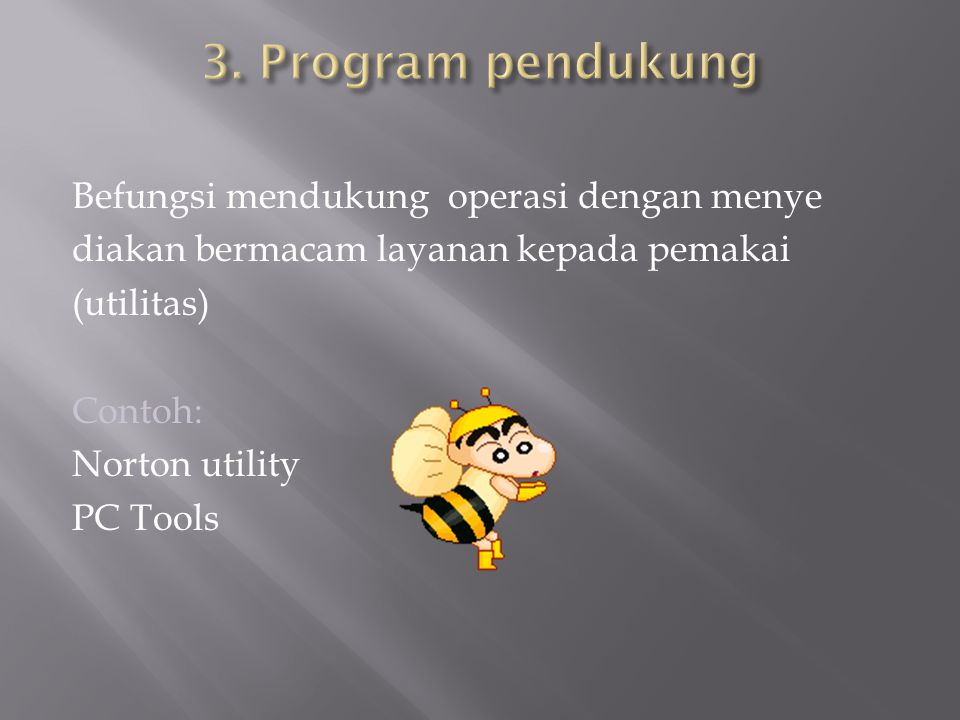 Befungsi mendukung operasi dengan menye diakan bermacam layanan kepada pemakai (utilitas) Contoh: Norton utility PC Tools