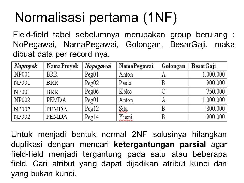 Normalisasi pertama (1NF) Untuk menjadi bentuk normal 2NF solusinya hilangkan duplikasi dengan mencari ketergantungan parsial agar field-field menjadi