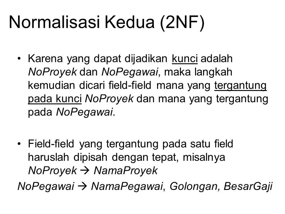 Normalisasi Kedua (2NF) Karena yang dapat dijadikan kunci adalah NoProyek dan NoPegawai, maka langkah kemudian dicari field-field mana yang tergantung