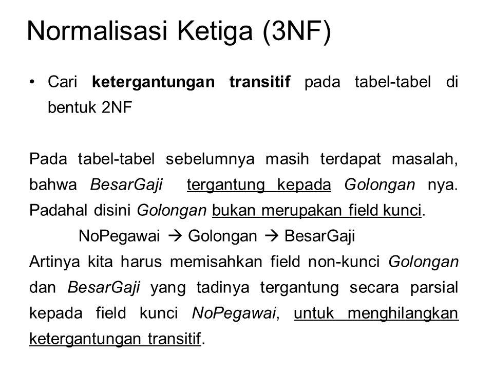 Normalisasi Ketiga (3NF) Cari ketergantungan transitif pada tabel-tabel di bentuk 2NF Pada tabel-tabel sebelumnya masih terdapat masalah, bahwa BesarG