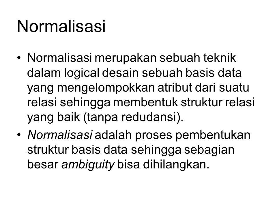 Contoh (samb…) Functional dependencynya sbb: {Mhs_nrp, mk_kode}  nihuruf (fd1) Mhs_nrp  {mhs_nama, mhs_alamat} (fd2) Mk_kode  {mk_nama, mk_sks} (fd3) fd1 (mhs_nrp, mk_kode, nihuruf)  Tabel Nilai fd2 (Mhs_nrp, mhs_nama, mhs_alamat)  Tabel Mahasiswa fd3(mk_kode, mk_nama, mk_sks)  Tabel MataKuliah