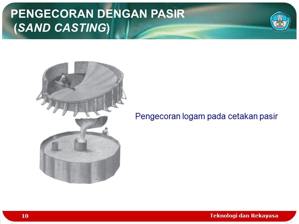 Teknologi dan Rekayasa 10 PENGECORAN DENGAN PASIR (SAND CASTING) Pengecoran logam pada cetakan pasir