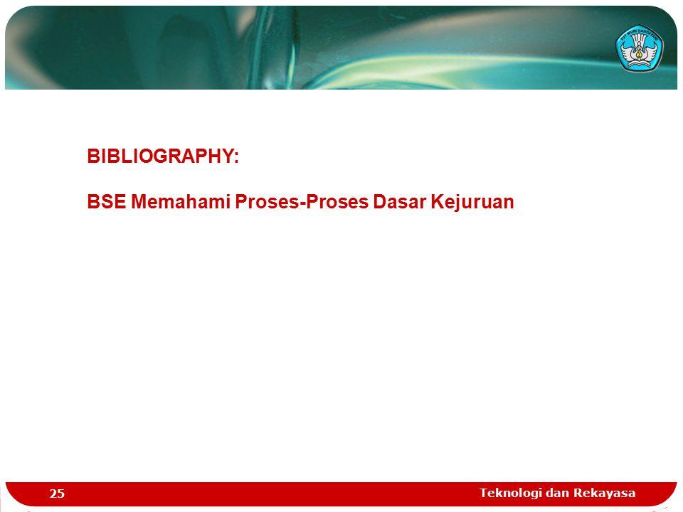 Teknologi dan Rekayasa 25 BIBLIOGRAPHY: BSE Memahami Proses-Proses Dasar Kejuruan
