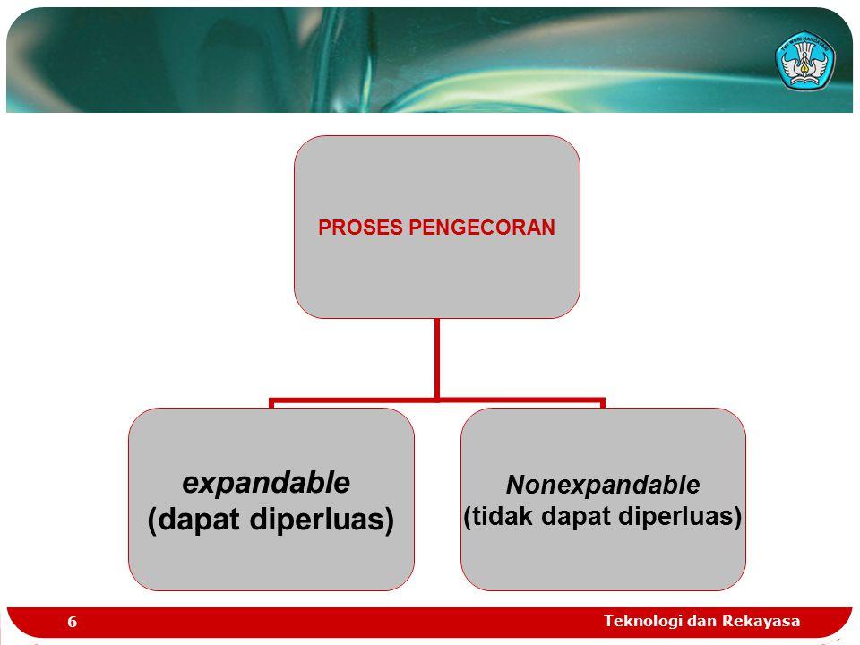 Teknologi dan Rekayasa 6 PROSES PENGECORAN expandable (dapat diperluas) Nonexpandable (tidak dapat diperluas)