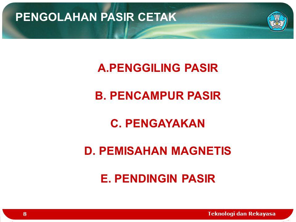 Teknologi dan Rekayasa 8 PENGOLAHAN PASIR CETAK A.PENGGILING PASIR B. PENCAMPUR PASIR C. PENGAYAKAN D. PEMISAHAN MAGNETIS E. PENDINGIN PASIR
