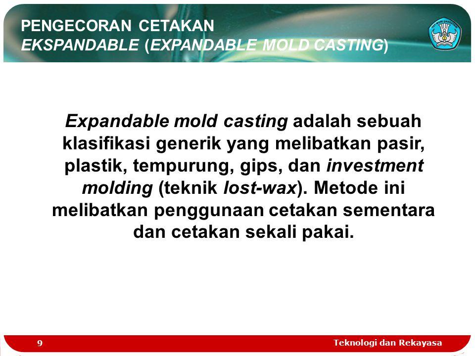 Teknologi dan Rekayasa 9 PENGECORAN CETAKAN EKSPANDABLE (EXPANDABLE MOLD CASTING) Expandable mold casting adalah sebuah klasifikasi generik yang melib