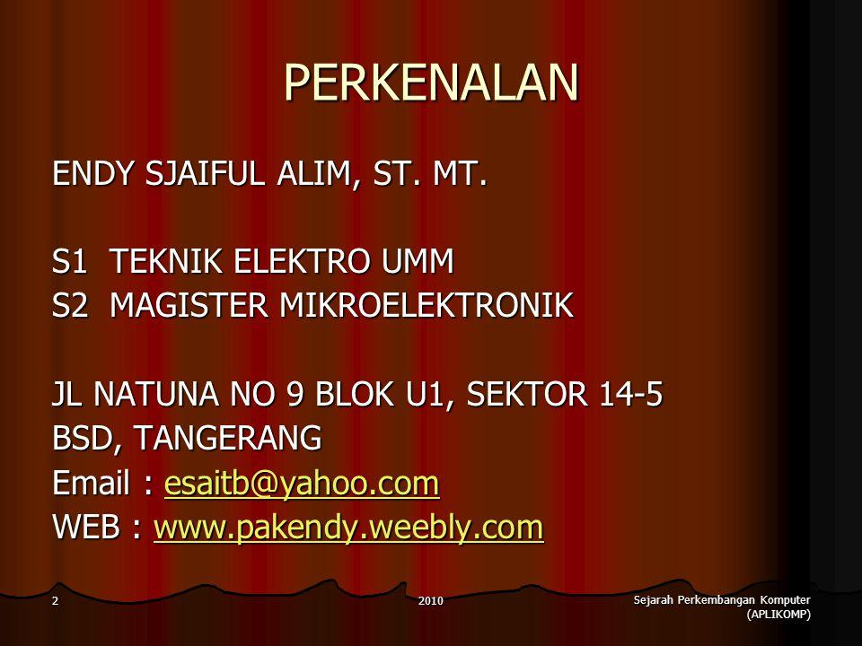 2010 Sejarah Perkembangan Komputer (APLIKOMP) 2 PERKENALAN ENDY SJAIFUL ALIM, ST.
