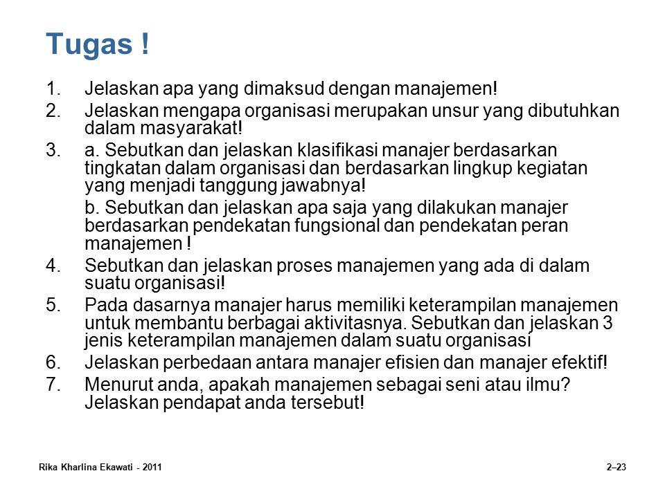 Rika Kharlina Ekawati - 20112–23 Tugas .1.Jelaskan apa yang dimaksud dengan manajemen.