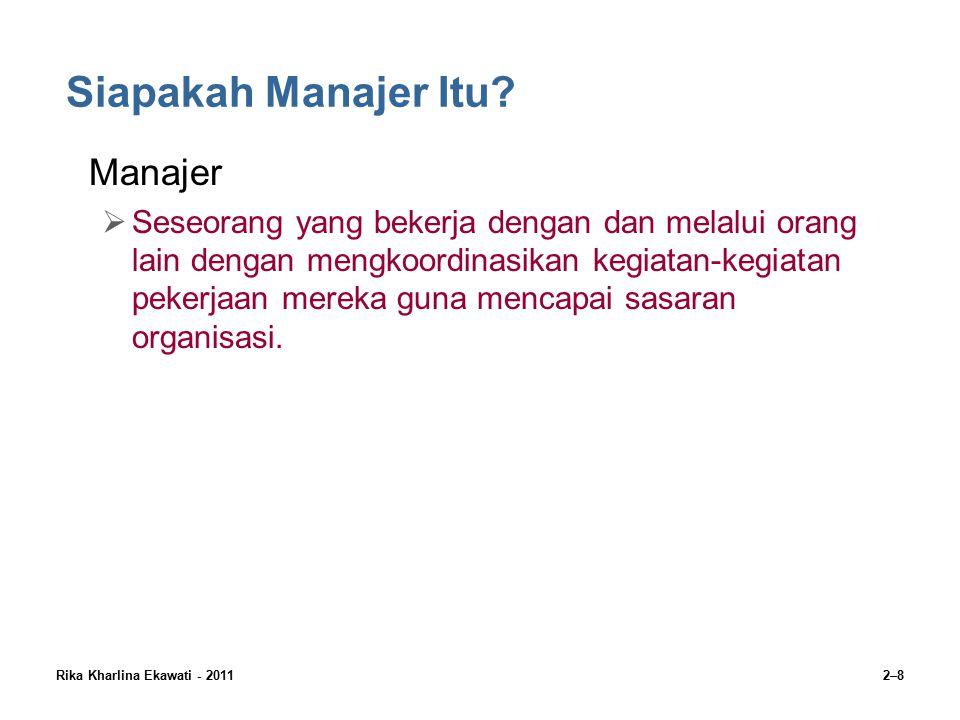 Rika Kharlina Ekawati - 20112–9 Klasifikasi Manajer First-line Managers/Manajer Lini Pertama  Manajer pada tingkatan paling rendah dalam organisasi yang mengelola pekerjaan karyawan non-manajerial yang terlibat dalam produksi dan penciptaan produk organisasi.
