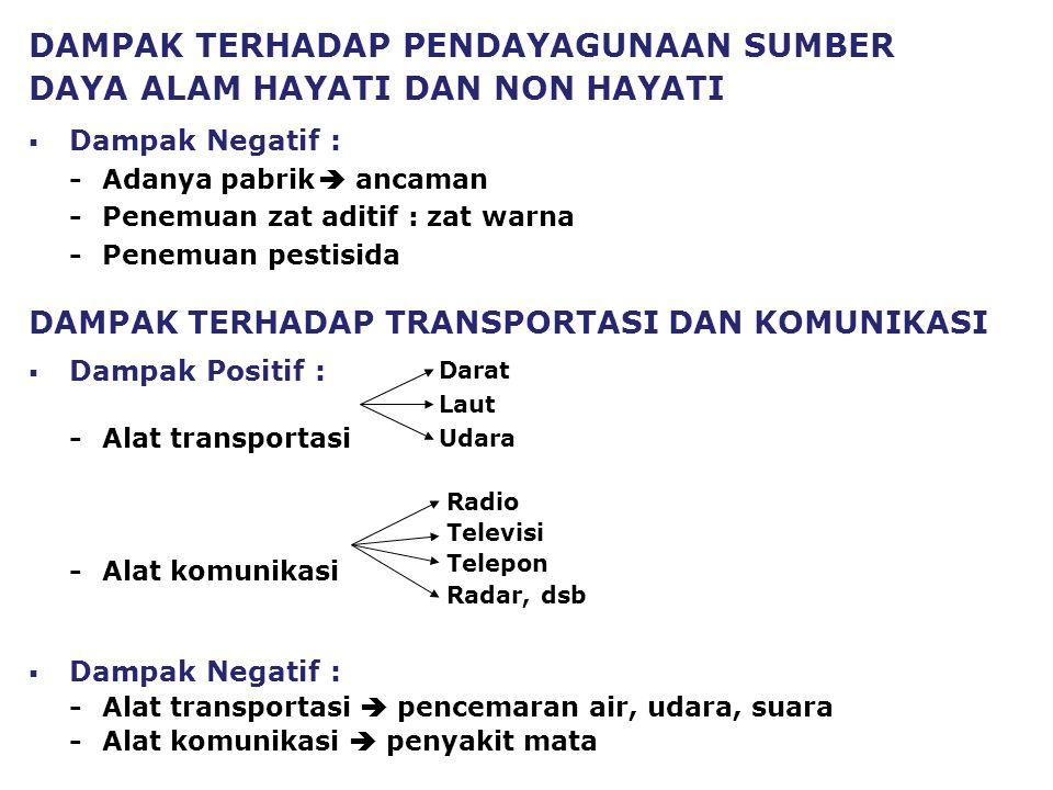 DAMPAK TERHADAP TRANSPORTASI DAN KOMUNIKASI  Dampak Positif : -Alat transportasi -Alat komunikasi  Dampak Negatif : -Alat transportasi  pencemaran