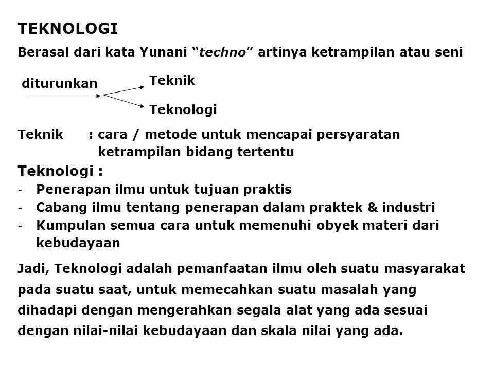 TEKNOLOGI Teknik:cara / metode untuk mencapai persyaratan ketrampilan bidang tertentu Teknologi: - Penerapan ilmu untuk tujuan praktis - Cabang ilmu t