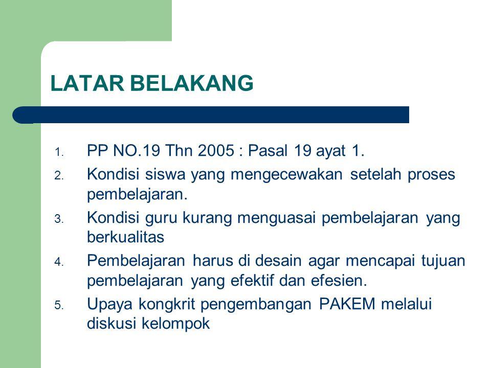 LATAR BELAKANG 1.PP NO.19 Thn 2005 : Pasal 19 ayat 1.