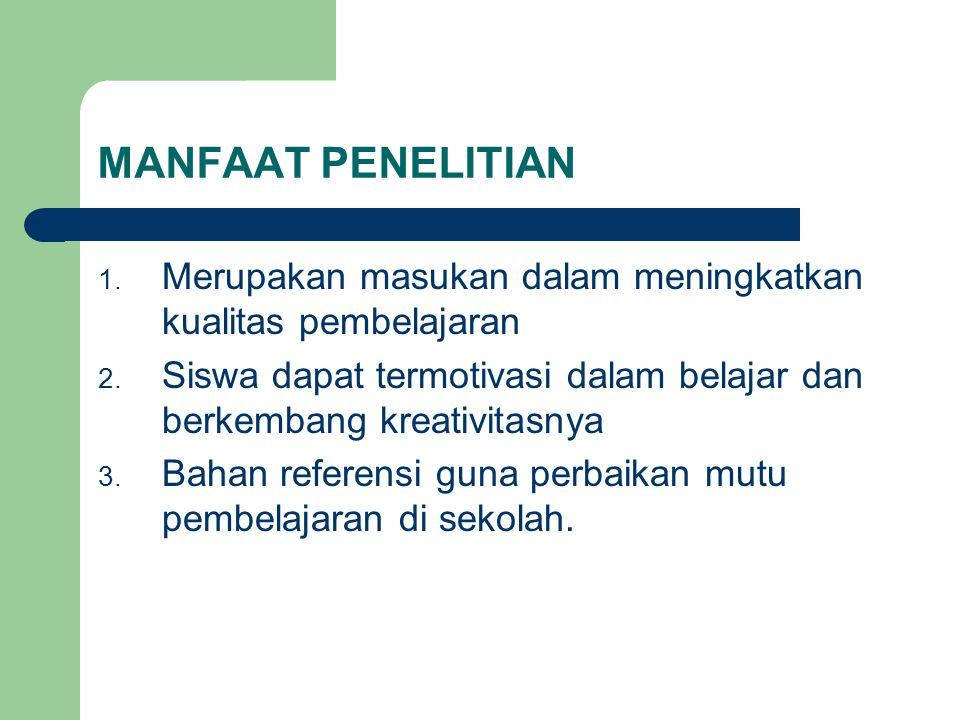 MANFAAT PENELITIAN 1.Merupakan masukan dalam meningkatkan kualitas pembelajaran 2.