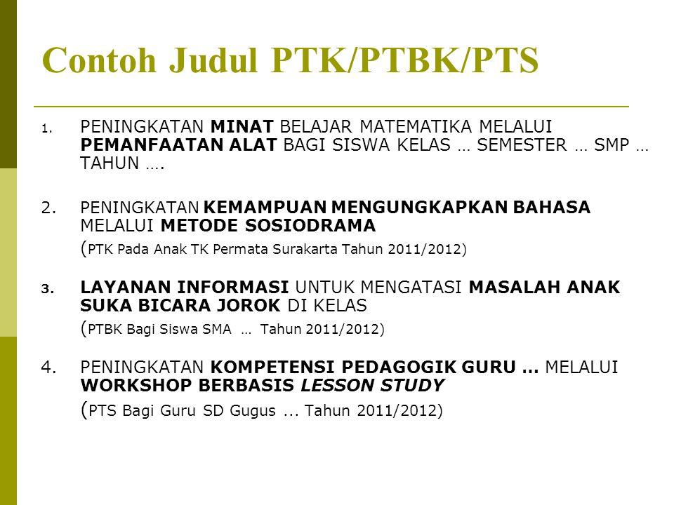 Contoh Judul PTK/PTBK/PTS 1.