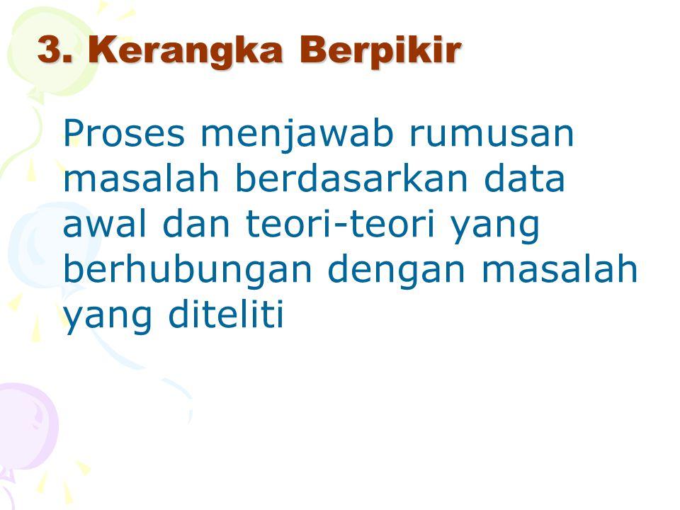 3. Kerangka Berpikir Proses menjawab rumusan masalah berdasarkan data awal dan teori-teori yang berhubungan dengan masalah yang diteliti