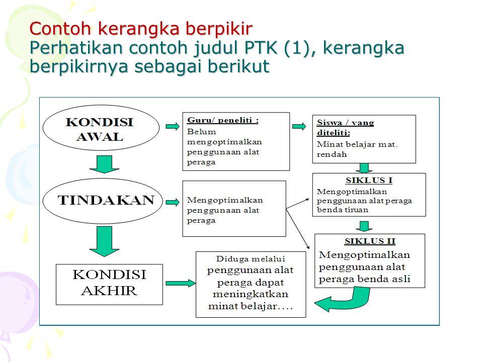 Contoh kerangka berpikir Perhatikan contoh judul PTK (1), kerangka berpikirnya sebagai berikut