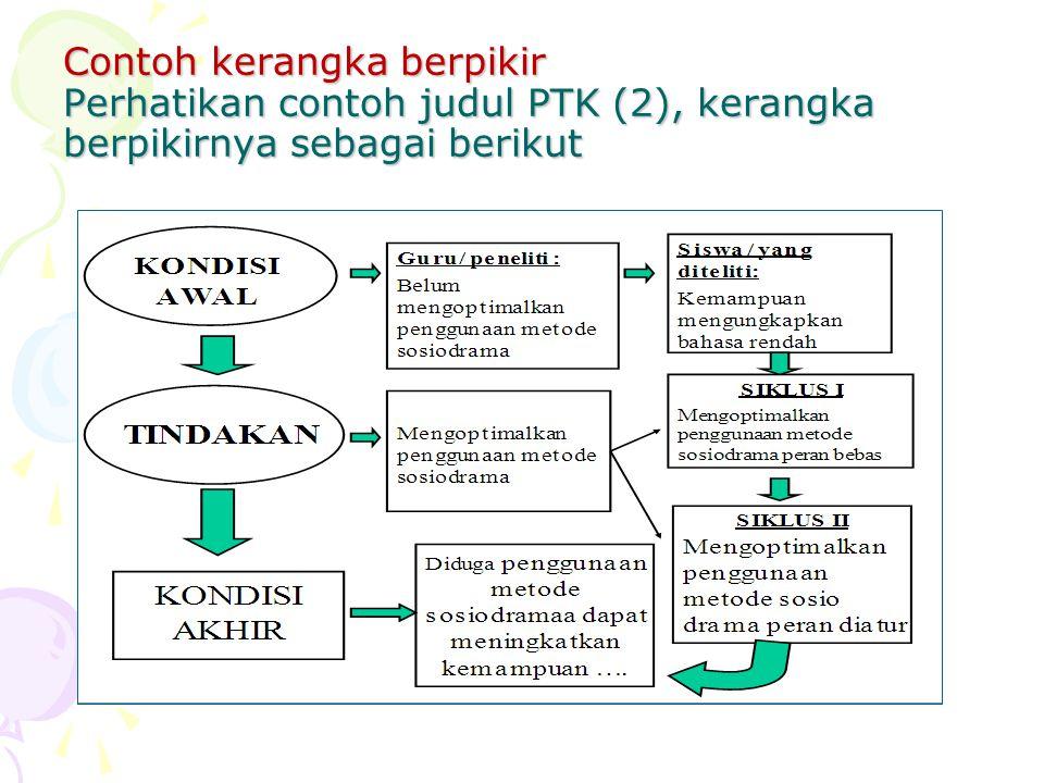 Contoh kerangka berpikir Perhatikan contoh judul PTK (2), kerangka berpikirnya sebagai berikut