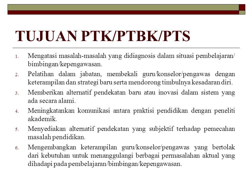 TUJUAN PTK/PTBK/PTS 1. Mengatasi masalah-masalah yang didiagnosis dalam situasi pembelajaran/ bimbingan/kepengawasan. 2. Pelatihan dalam jabatan, memb
