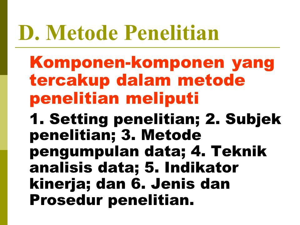 D. Metode Penelitian Komponen-komponen yang tercakup dalam metode penelitian meliputi 1. Setting penelitian; 2. Subjek penelitian; 3. Metode pengumpul