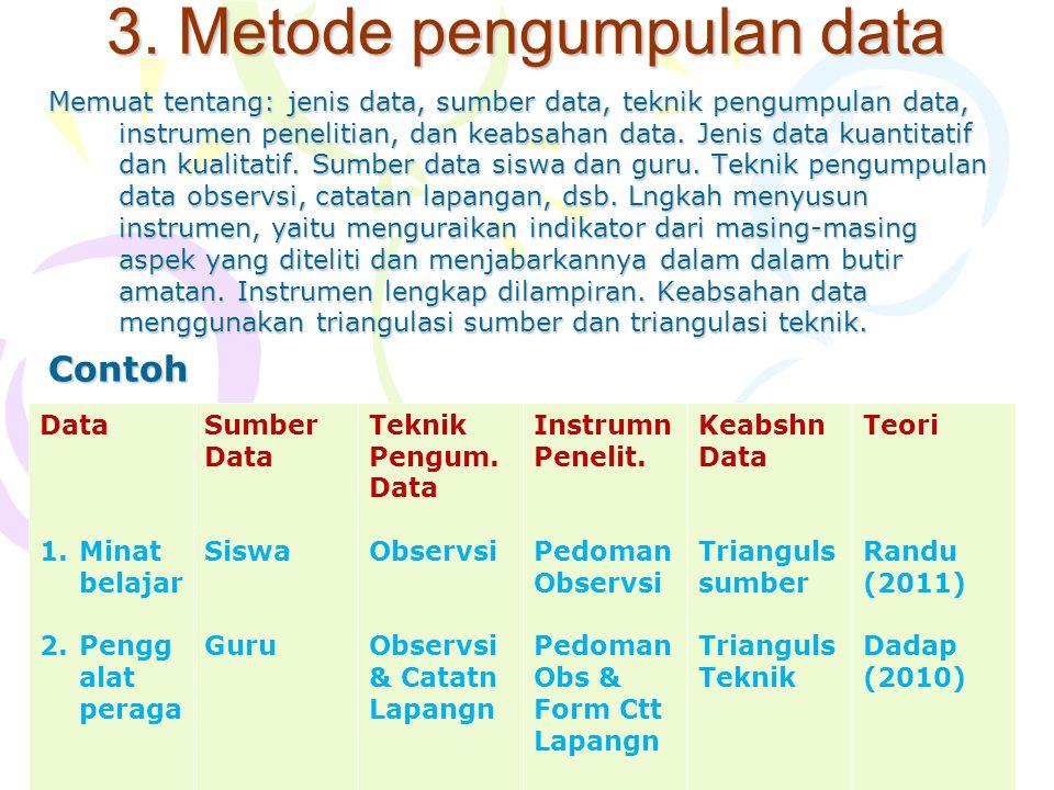 3. Metode pengumpulan data Memuat tentang: jenis data, sumber data, teknik pengumpulan data, instrumen penelitian, dan keabsahan data. Jenis data kuan
