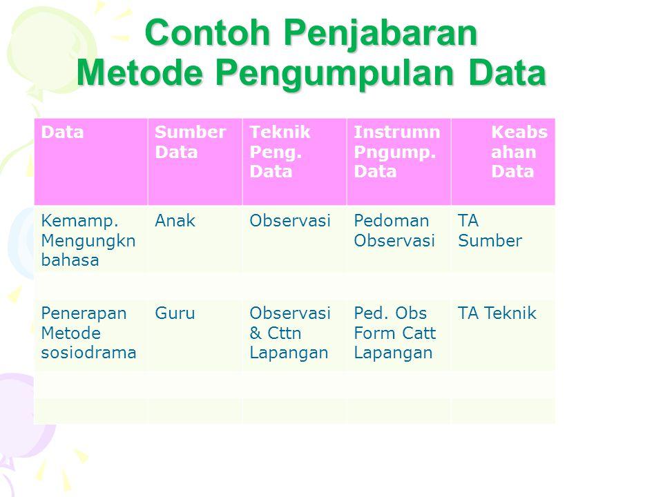Contoh Penjabaran Metode Pengumpulan Data DataSumber Data Teknik Peng. Data Instrumn Pngump. Data Keabs ahan Data Kemamp. Mengungkn bahasa AnakObserva