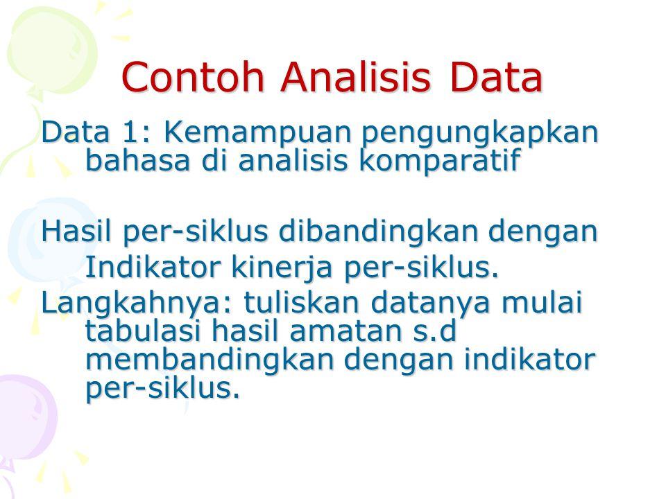 Contoh Analisis Data Data 1: Kemampuan pengungkapkan bahasa di analisis komparatif Hasil per-siklus dibandingkan dengan Indikator kinerja per-siklus.
