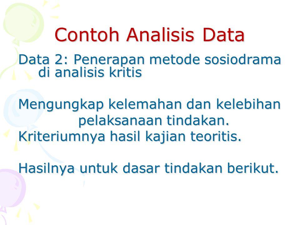 Contoh Analisis Data Data 2: Penerapan metode sosiodrama di analisis kritis Mengungkap kelemahan dan kelebihan pelaksanaan tindakan. Kriteriumnya hasi