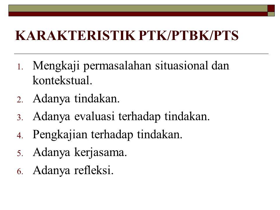 KARAKTERISTIK PTK/PTBK/PTS 1. Mengkaji permasalahan situasional dan kontekstual. 2. Adanya tindakan. 3. Adanya evaluasi terhadap tindakan. 4. Pengkaji