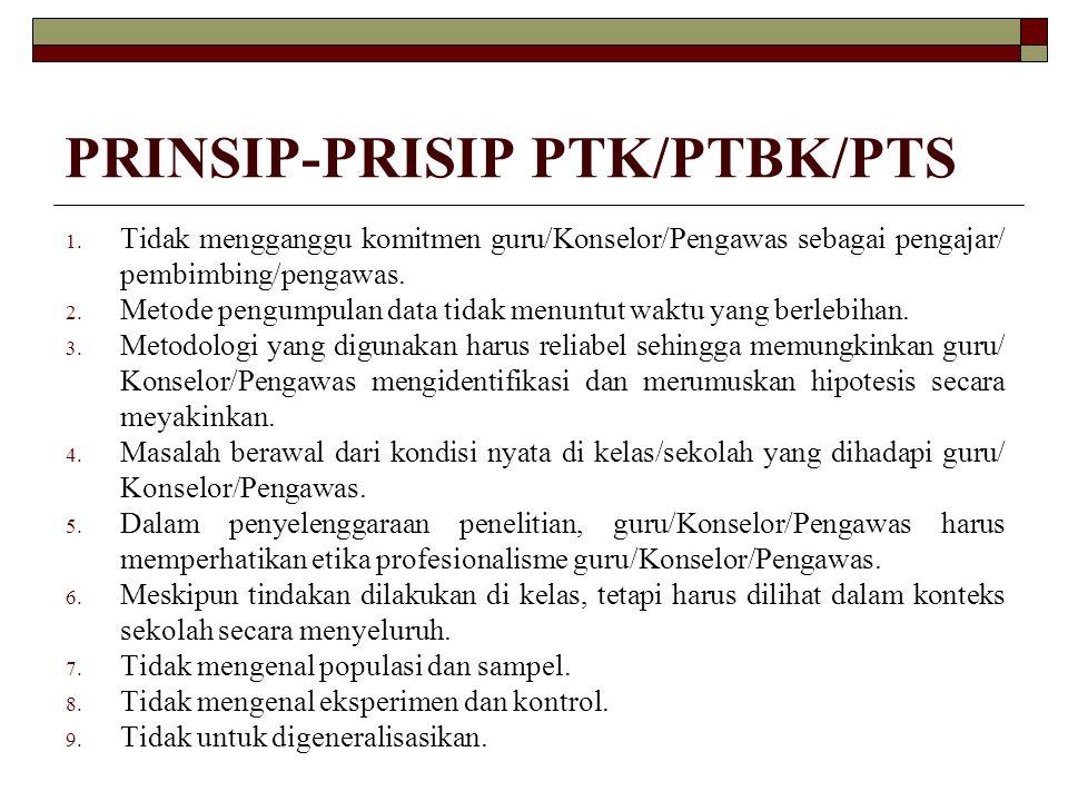 PRINSIP-PRISIP PTK/PTBK/PTS 1. Tidak mengganggu komitmen guru/Konselor/Pengawas sebagai pengajar/ pembimbing/pengawas. 2. Metode pengumpulan data tida