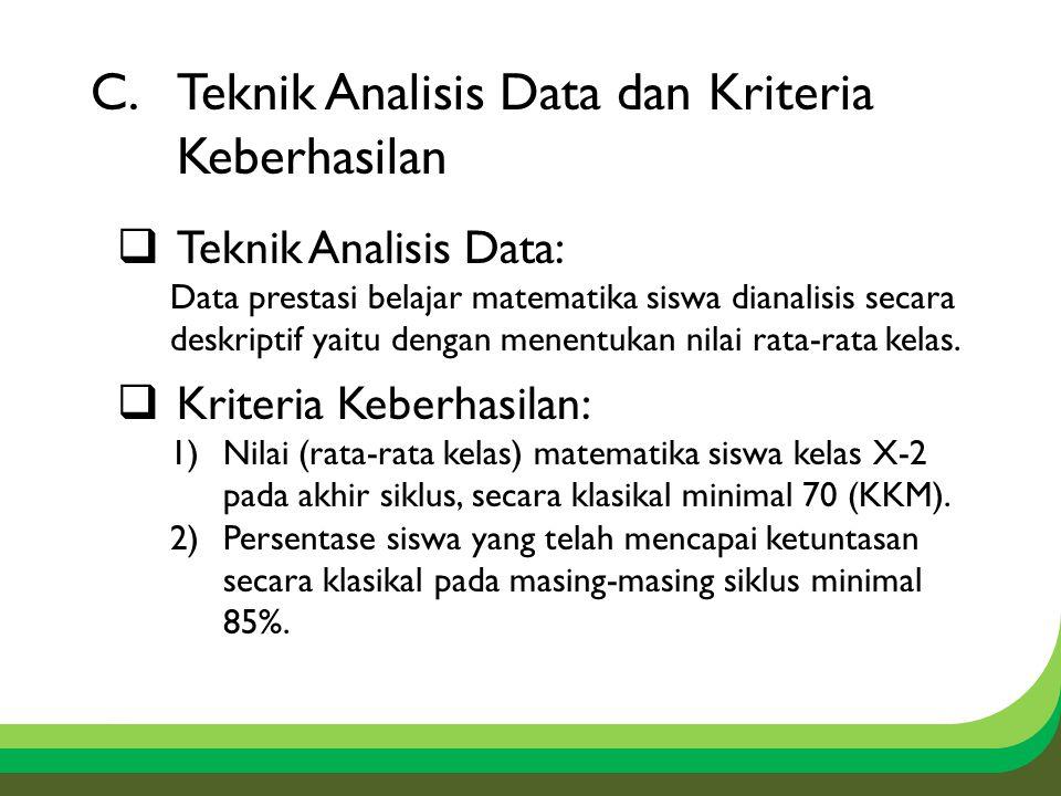 C.Teknik Analisis Data dan Kriteria Keberhasilan  Teknik Analisis Data: Data prestasi belajar matematika siswa dianalisis secara deskriptif yaitu dengan menentukan nilai rata-rata kelas.