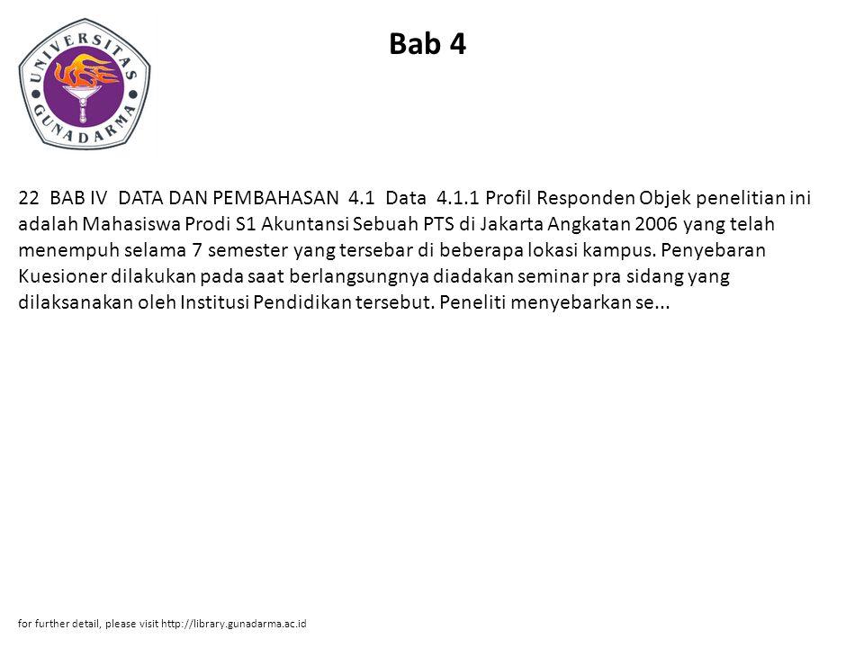 Bab 4 22 BAB IV DATA DAN PEMBAHASAN 4.1 Data 4.1.1 Profil Responden Objek penelitian ini adalah Mahasiswa Prodi S1 Akuntansi Sebuah PTS di Jakarta Angkatan 2006 yang telah menempuh selama 7 semester yang tersebar di beberapa lokasi kampus.