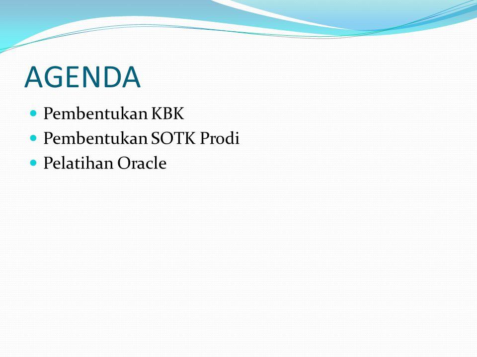 AGENDA Pembentukan KBK Pembentukan SOTK Prodi Pelatihan Oracle