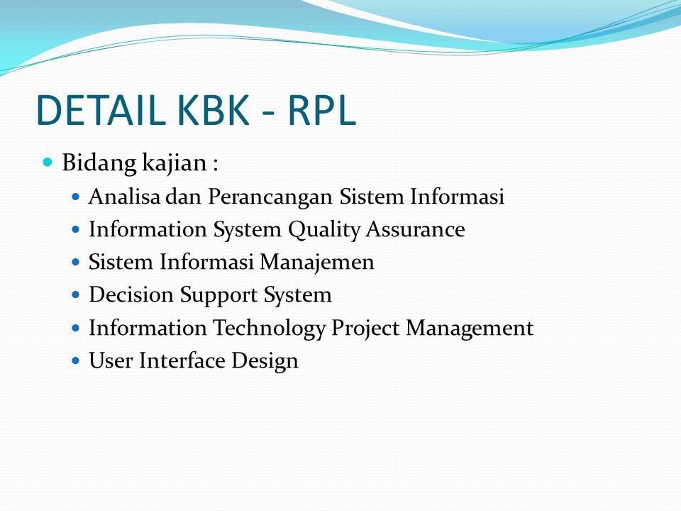 DETAIL KBK - PROGRAMMING Bidang kajian : Algoritma dan Pemrograman Object Oriented Programming Visual and Web Programming E-Commerce XML and Web Service Mobile Application/Programming Shell Programming